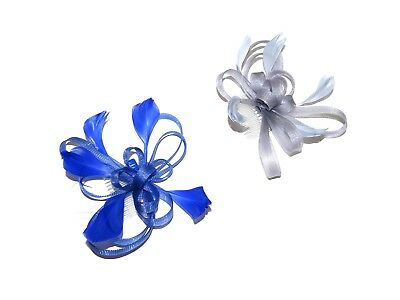Silver Royal Blue Black Coiled Feather Hair Fascinator Comb Weddings Races