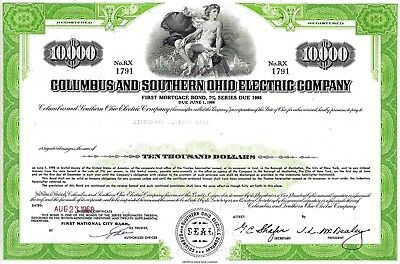 Columbus and Southern Ohio Electric Company, 1968, 7% Bond due 1998 (10.000 $)