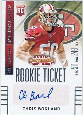 2014 Contenders - Rookie Ticket Auto #113 Chris Boland - San Francisco 49ers