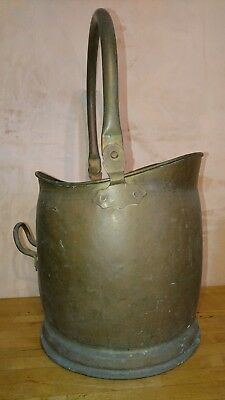 Handsome Antique / Vintage Brass Coal Skuttle / Bucket Of Good Quality