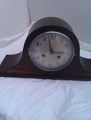 An Old Napoleon Hat Chiming Mantle Clock In Full Working Order