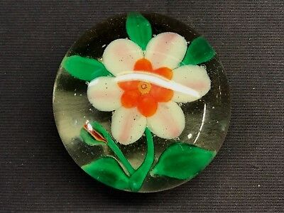 """Antique Vintage Pansy Art Glass 3"""" Paperweight"""