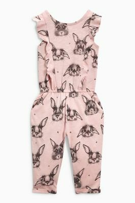 Next Pink Bunny Print Playsuit Age 3 ~ 4 Yrs Bnwt