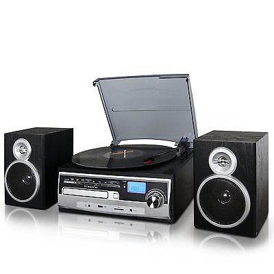 Record Vinyl Lp Cd Player Turntable Stereo Speaker System Fm Radio Bluetooth Usb