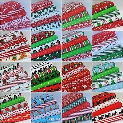 New* Christmas 2019 Fabric Material Bundles Fat Quarters & Squares Poly Cotton