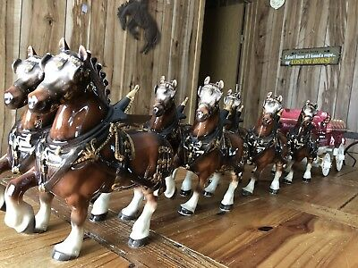 Budweiser Beer Clydesdales Complete Set Of 8 Horses With Wagon
