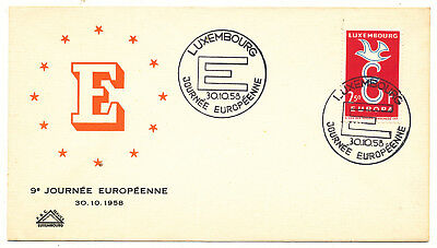 """Luxembourg """"europe Cept"""" # 590 Cover (1958)"""