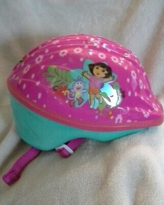Dora the Explorer child's bike helmet small pink with chin strap.