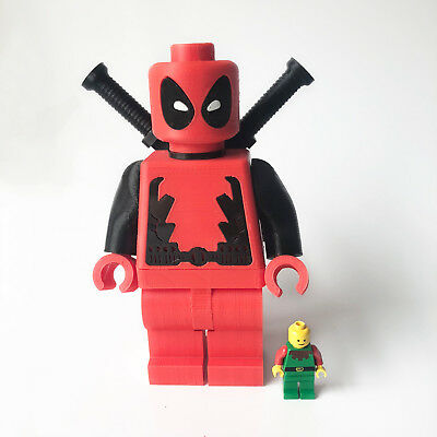 Giant LEGO Deadpool Style Figure Character With Swords – 3D Printed Lookalike