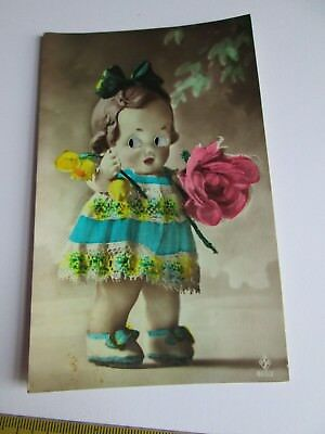 Glass Eyed Novelty postcard of child/doll c1915-1930 (unposted) 855/2