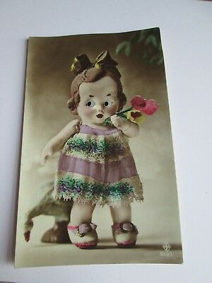 Glass Eyed Novelty postcard of child/doll c1915-1930 (unposted) 855/1