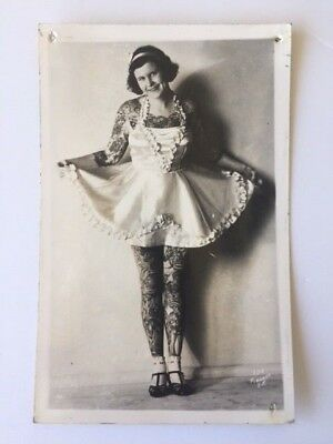 vintage tattoo postcard photograph  Betty Broadbent known as the tattooed lady