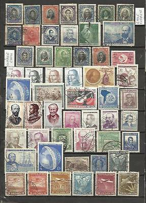 8402 lot stamps Former Chile,all different,distinct filigree,series,chi