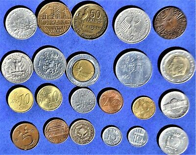 Job lot of 22 non-British/foreign coins