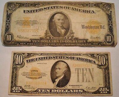 Lot of (2) $10 Gold Certificates, 1922, 1928, Nice Filler Ten Dollar Notes