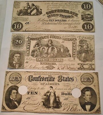 Lot of (3) Confederate States of America Notes 1861 $10, $20 Richmond, Currency