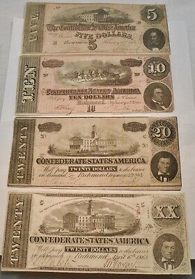 Lot of (4) Confederate States of America Notes 1863 $20, 1864 $5 $10 20 Currency