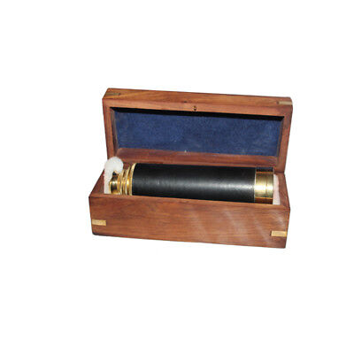 "Antique 15"" Nautical Black Golden Finish Telescope With Wooden Box"
