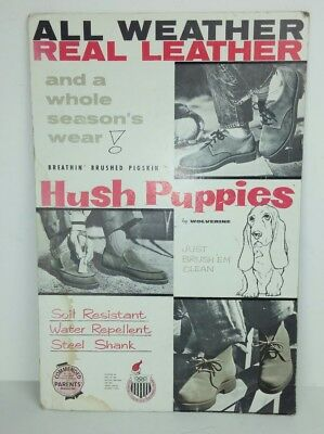 "Hush Puppies by Wolverine Advertisement Countertop Cardboard Vintage 12.5""x18.5"""