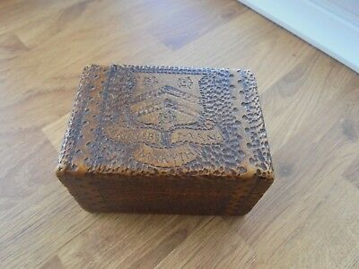 Rare Vintage Wooden Box Winchester College Manners Man Makyth
