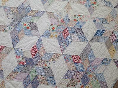 The Best Feedsack Fabrics! Vintage 30s Star of the East QUILT Beautiful 78x69