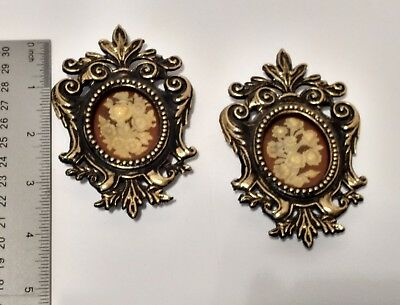 2 Small antique oval picture frames Victorian Baroque framed cameo wall decor