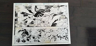 UNCANNY X-MEN #300 Double Page action shot pages 40 /41, Nightcrawler/Colossus