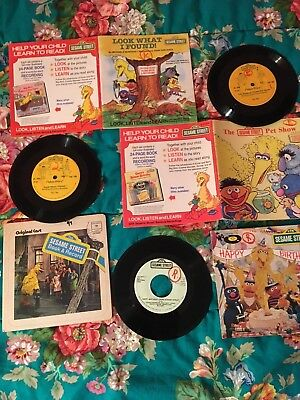 Sesame Street vintage RPM record collection w/ booklets 1970's 80's Collectible!