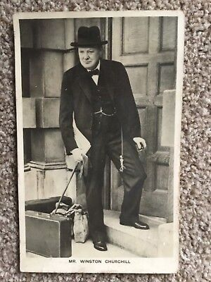 1940 collectors postcard of Winston Churchill advertising the Sunday Dispatch.