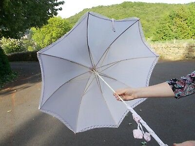 Vintage parasol with fabric covered handle and tip by 'Rainshield'