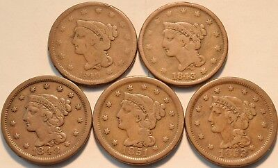 Lot of (5) Braided Hair Large Cents, 1840, 1843, 1848, 1851, 1853 Penny 1C Coins