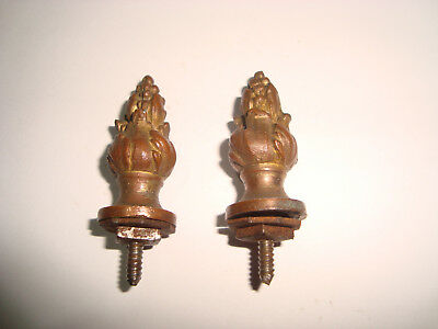 2 x ANTIQUE BRASS CLOCK CASE PART ACORN TOP FINIALS 17mm Dia x 35mm Long LOT 23
