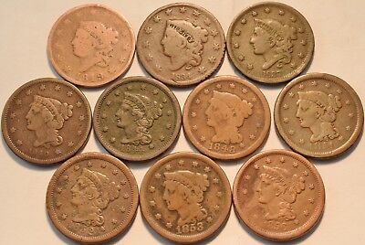 Lot of (10) Coronet Head Braided Hair Large Cents 1819 1834 1837 1844 Penny 1C