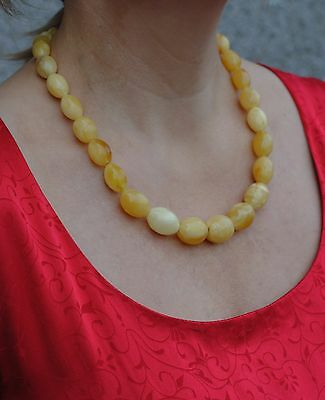 AMBER beads NECKLACE 49 g Lithuania Natural BALTIC egg yolk white Genuine stones