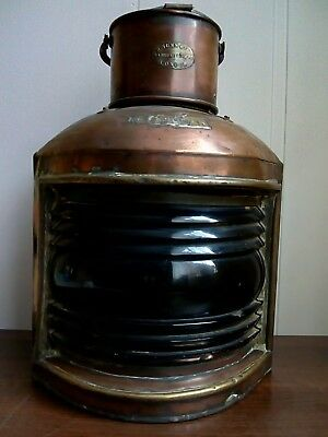 Antique Large STARBOAR Cooper and Brass Ship Lantern lamp