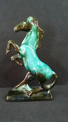 "Blue Mountain Pottery Teal Drip Redware Rearing Horse Figurine 14.5""  (B50)"