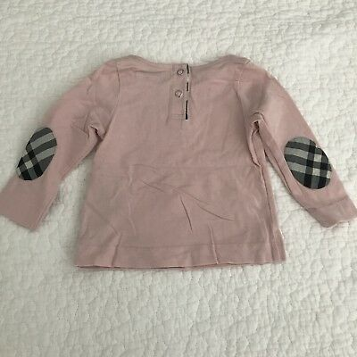 Burberry pink & Nova Check Elbow Long sleeve  infant top Size 6 Months