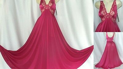 "VTG MED 60's NWT OLGA 9297 PLUM BODYSILK NYLON 220"" SWEEP Floor Length NIGHTGOWN"