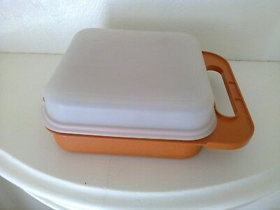 Vintage 1970's Tupperware Child's Orange Lunch Box - Road Sign - Road Safety