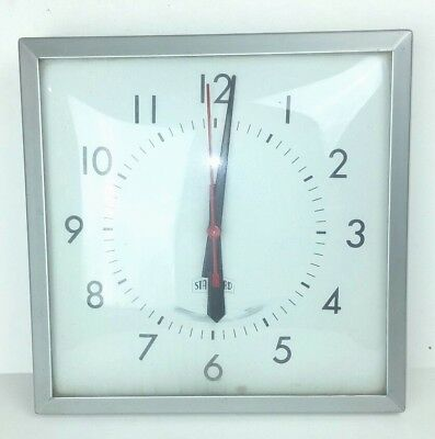 Standard Brand Wall Clock Glass Face Square Silver Metal Frame For Parts Repair