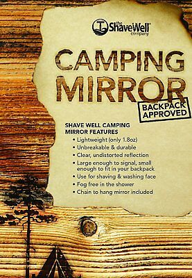 Shave Well Company Unbreakable Small Fogless Hanging Camping Mirror Shatterproof