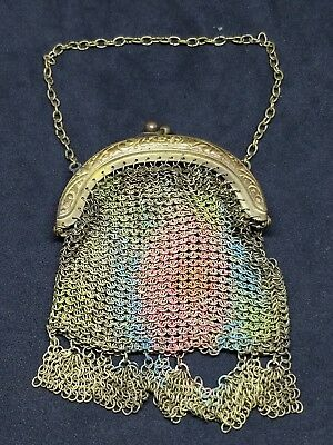Antique Signed Germany Victorian Mesh Chain Gold Tone & Enamel Hand Bag Purse