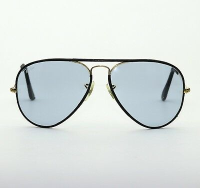 Vintage B&l Ray Ban Usa Changeable Blue 58-14 Leathers Aviator Sunglasses Exc
