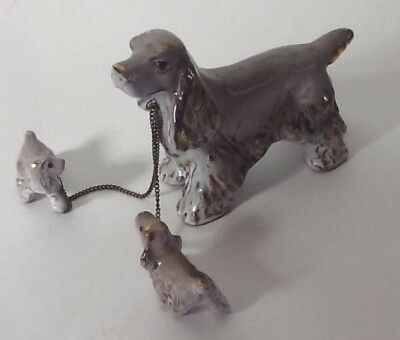 Vintage Japan Cocker Spaniel Mother Dog & Puppies Chained Ceramic Figurines