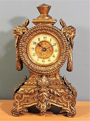 Antique French Empire Style Gilt Metal Miniature Mantel Clock