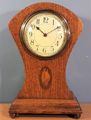 Antique French  Oak Cased Inlaid Mantel Clock, Good Working Order