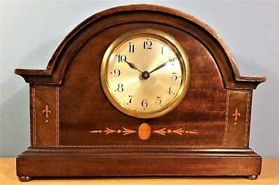 Edwardian French Inlaid Mantel Clock, Good Working Order