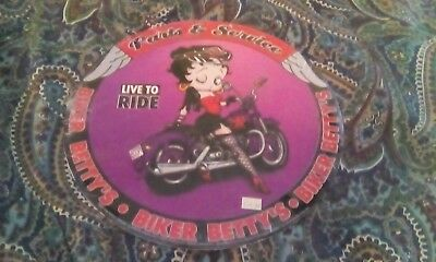 "Betty Boop Biker Betty's Parts & Service Metal Sign New 12"" diameter"