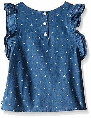 Nautica Girls' Chambray Flutter Sleeve Top, Size 3 3T (LEGGING is MISSING), NWT
