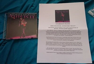 michael jackson this is it promotional only cd and press release 2009 very rare